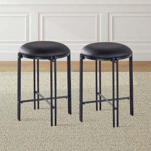 Morgan Black Round Counter Stool, Set of 2
