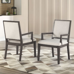 Mila Washed Gray 25-Inch Arm Chair, Set of 2