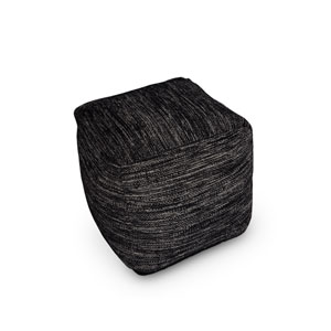 Omari Black and Ivory Square Handwoven Pouf