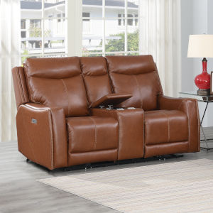 Natalia Caramel Leather 39-Inch Recliner Loveseat