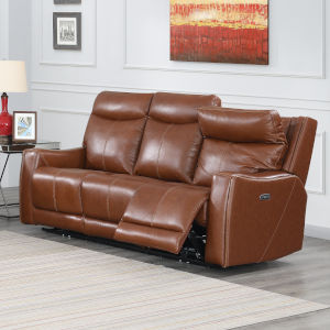 Natalia Caramel Leather 39-Inch Recliner Sofa