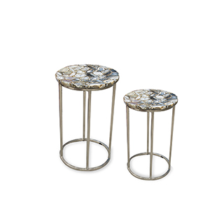 Onyx Silver with Multicolor Agate Top Nesting Table