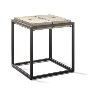 Oaklee Honey and Dark Gray Iron Base End Table