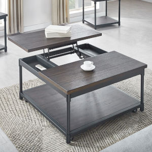 Prescott Smokey Oak and Black Square Cocktail Table