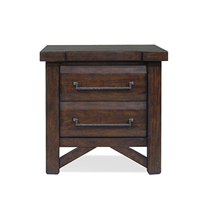 Timber Brown 2-Drawer Nightstand with USB port