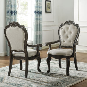 Rhapsody Rich Dark Molasses and Alabaster Upholstered Arm Chair, Set of 2