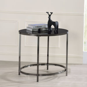 Rayne Black and Chrome Round End Table