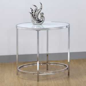 Rayne White And Chrome 24-Inch End Table