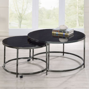 Rayne Black and Chrome Cocktail Table, Set of 2