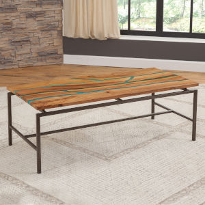 Tamra Natural Wood with Emerald Green Cocktail Table