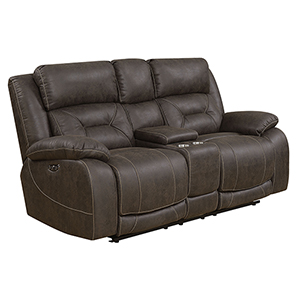 Aria Saddle Brown Loveseat with Console and Power Head Rest