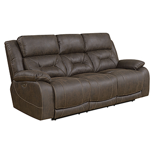 Aria Saddle Brown Power Recliner Sofa with Power Head Rest