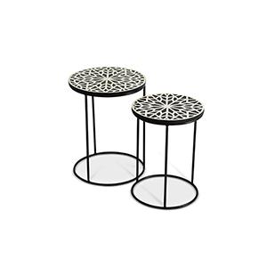 Amisha Black and White Round Nesting Tables