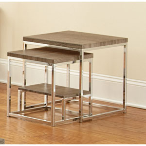 Lucia 2 Piece Nesting Table, Grey/Brown