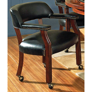 Tournament Black Arm Chair w/Casters