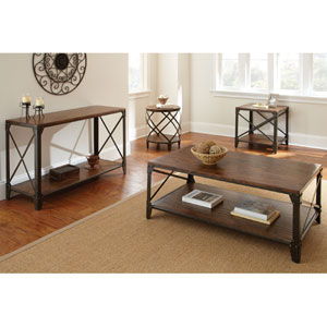 Winston Square End Table in Distressed Tobacco