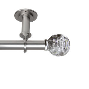 Twine Satin Nickel 66-120 Inches Ceiling Curtain Rod