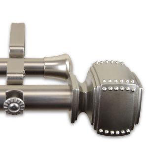Bennett Satin Nickel 66-120 Inches Double Curtain Rod