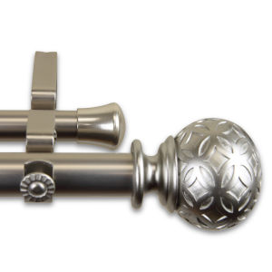 Odelia Satin Nickel 120-170 Inches Double Curtain Rod