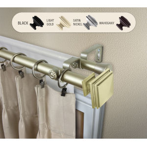 Bedpost Light Gold 48-84 Inches Double Curtain Rod