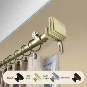 Bedpost Light Gold 48-84 Inches Curtain Rod