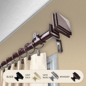 Bedpost Mahogany 48-84 Inches Curtain Rod