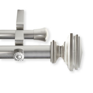 Bedpost Satin Nickel 66-120 Inches Double Curtain Rod