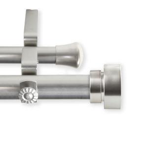 Bonnet Satin Nickel 240-Inch Double Curtain Rod
