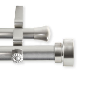 Bonnet Satin Nickel 66-120 Inches Double Curtain Rod