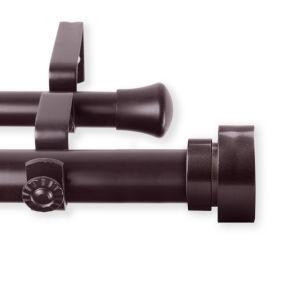Bonnet Mahogany 66-120 Inches Double Curtain Rod