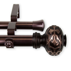 Maple Bronze 48-84 Inches Double Curtain Rod