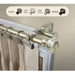 Maple Light Gold 66-120 Inches Double Curtain Rod