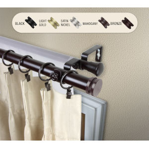Bun Mahogany 160-240 Inches Double Curtain Rod
