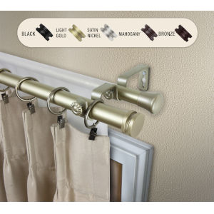 Bun Light Gold 28-48 Inches Double Curtain Rod