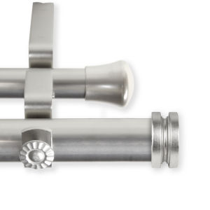 Bun Satin Nickel 48-84 Inches Double Curtain Rod