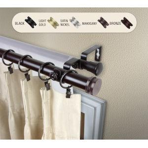 Bun Mahogany 48-84 Inches Double Curtain Rod