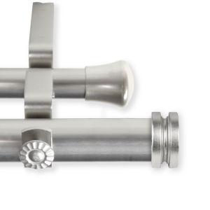 Bun Satin Nickel 120-170 Inches Double Curtain Rod