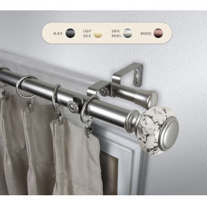 Kelly Satin Nickel 48-84 Inch Double Curtain Rod