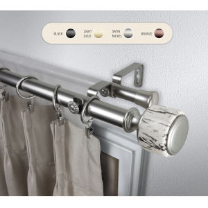 Josephine Satin Nickel 160-240 Inch Double Curtain Rod
