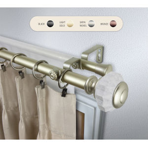 Linden Gold 48-84 Inch Double Curtain Rod