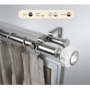 Linden Satin Nickel 48-84 Inch Double Curtain Rod