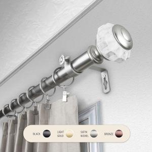 Linden Satin Nickel 48-84 Inch Curtain Rod