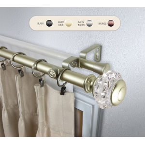 Inez Gold 160-240 Inch Double Curtain Rod
