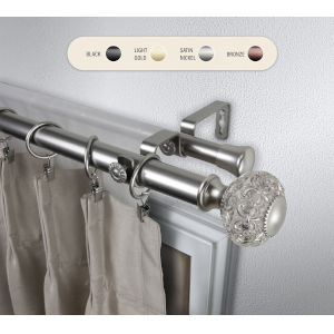Elsie Satin Nickel 160-240 Inch Double Curtain Rod