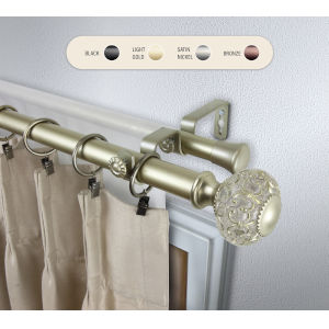 Elsie Gold 120-170 Inch Double Curtain Rod