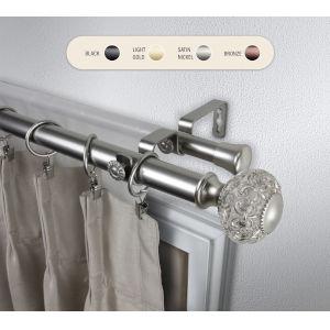 Elsie Satin Nickel 120-170 Inch Double Curtain Rod