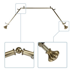 Flair Antique Brass 144-Inch Bay Window Curtain Rod