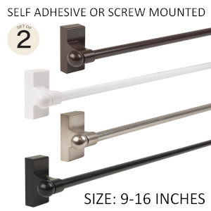 Satin Nickel 9-16 Inch Self-Adhesive Wall Mounted Rod, Set of 2