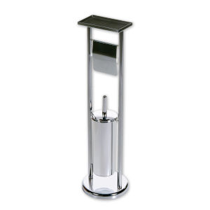 Satin Nickel Seven-Inch Toilet Paper and Cleaning Brush Holder