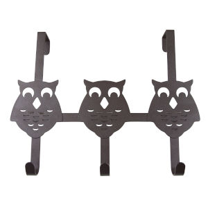Bronze 13-Inch Over the Door Owl Organizer Three Hooks